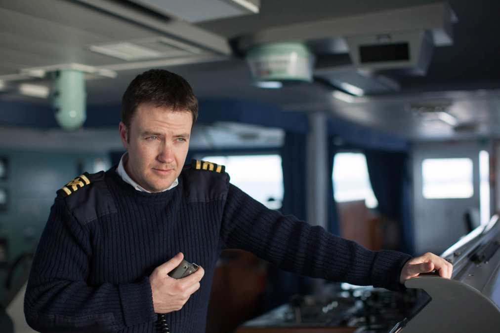 Captain on the Bridge of LNG Gemmata, Norway.