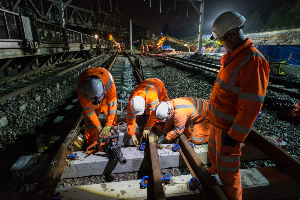 Night work, CrossRail West, London.